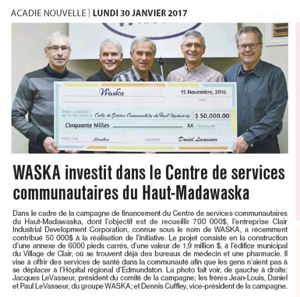 waska contributes $ 50,000